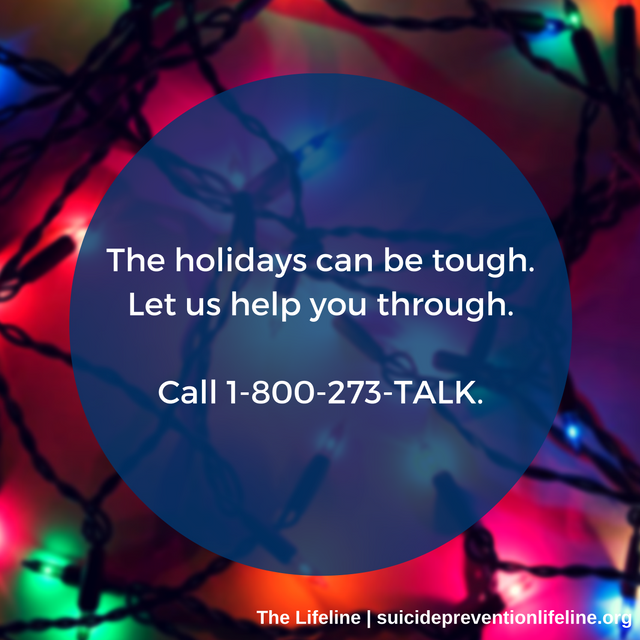The holidays can be tough for many. Right click and share this graphic to share on social media to help us reach others who may need support this season.